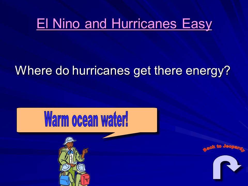 El Nino and Hurricanes Easy Where do hurricanes get there energy?