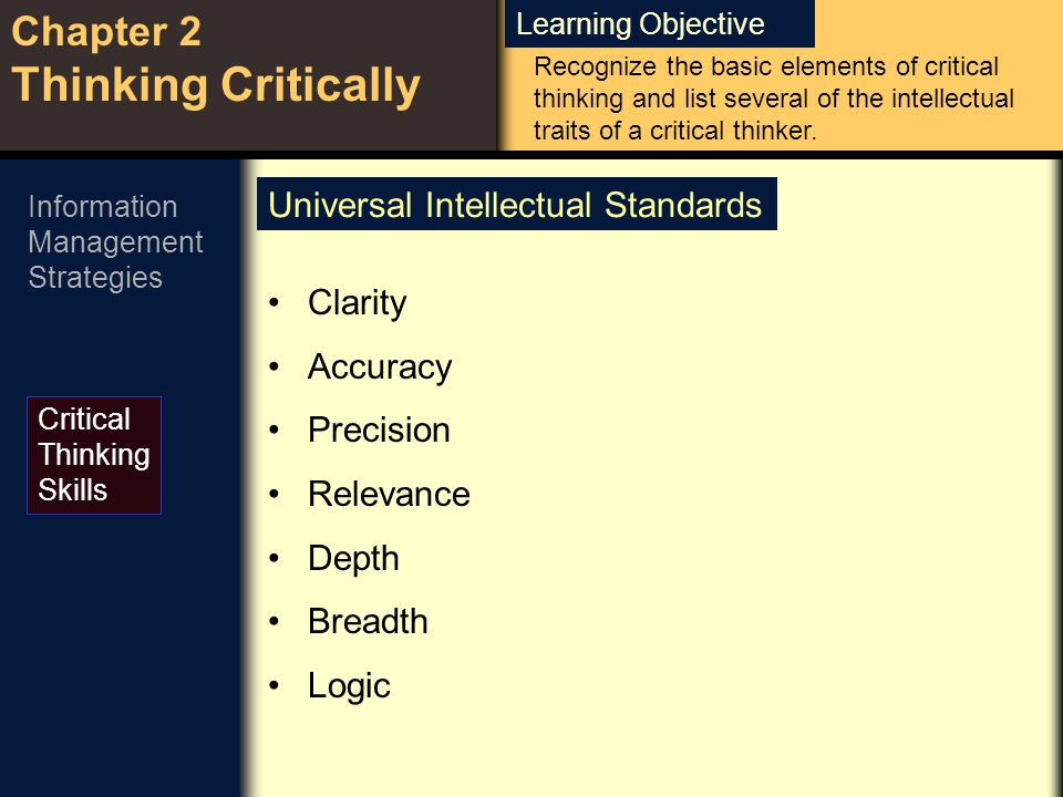 Learning Objective Chapter 2 Thinking Critically Critical Thinking Skills Information Management Strategies Universal Intellectual Standards Clarity A