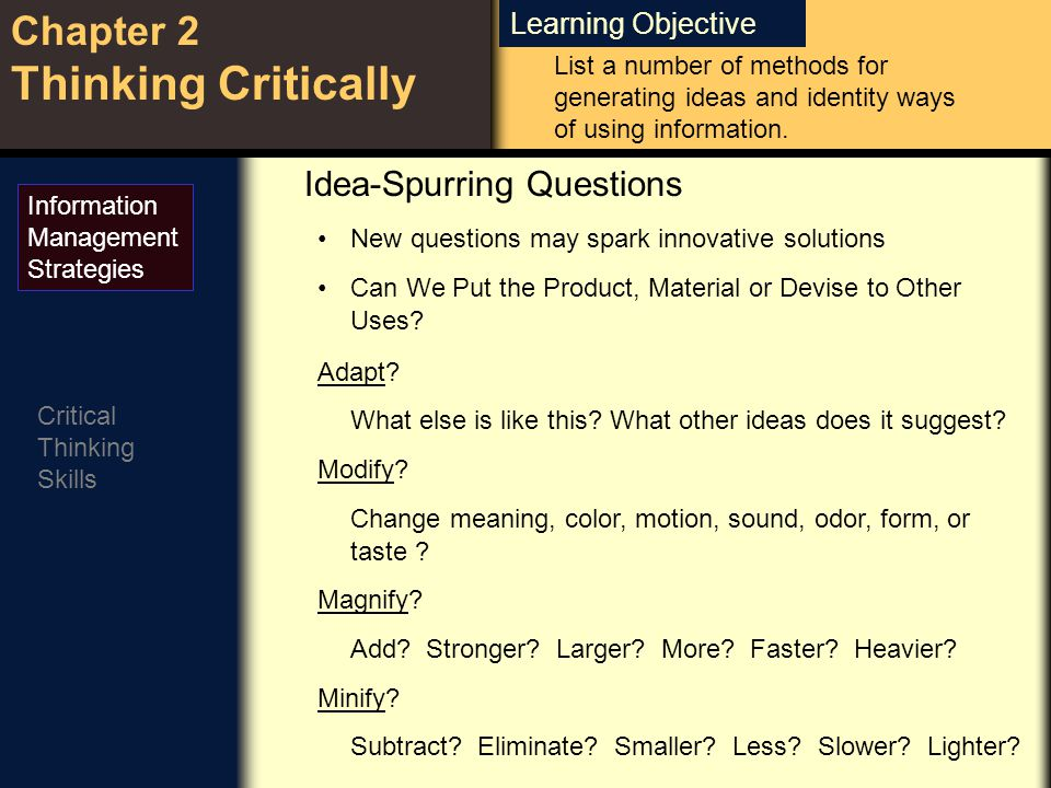 Learning Objective Chapter 2 Thinking Critically Critical Thinking Skills Substitute.