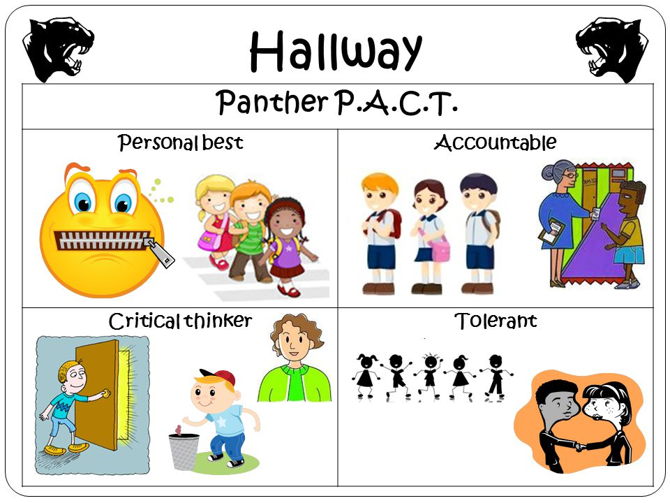 Hallway Panther P.A.C.T. Personal bestAccountable Critical thinkerTolerant