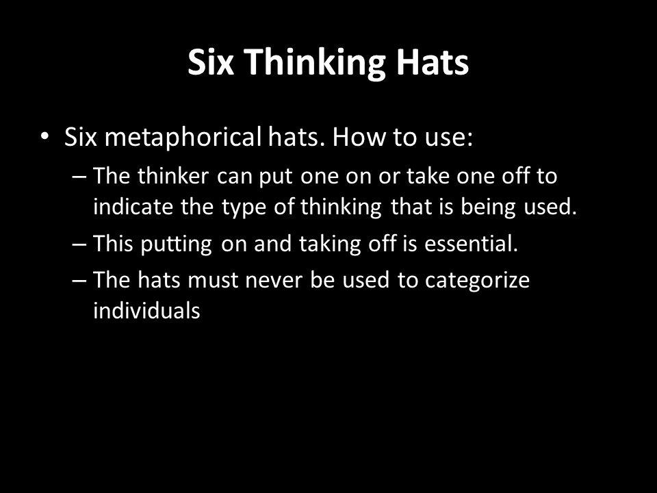 Six Thinking Hats Six metaphorical hats.