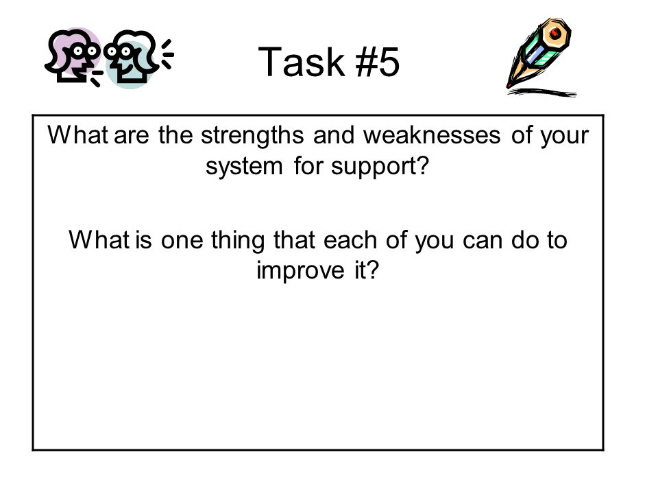 Task #5 What are the strengths and weaknesses of your system for support.
