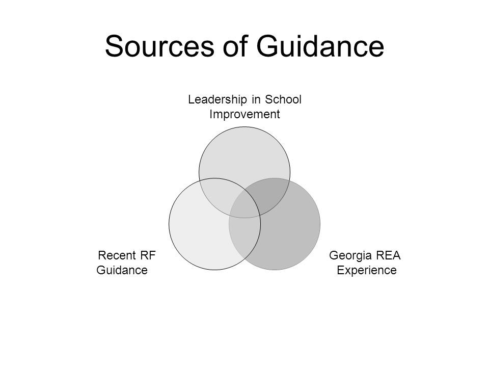 Sources of Guidance Leadership in School Improvement Georgia REA Experience Recent RF Guidance