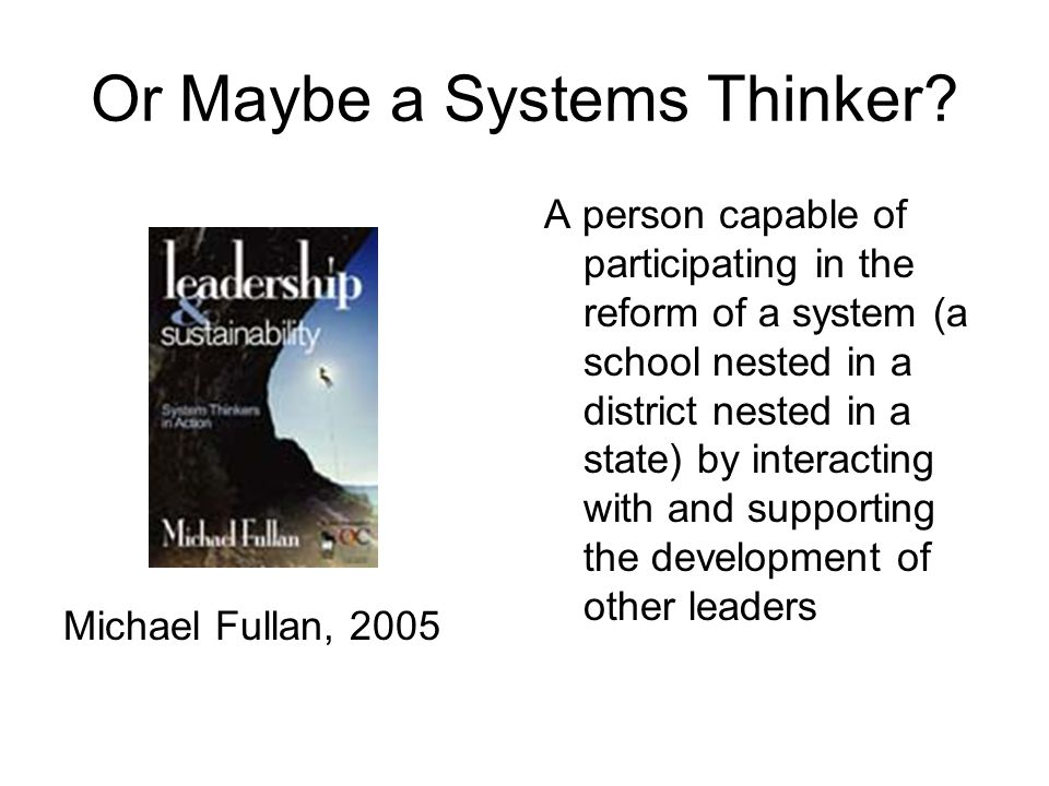Or Maybe a Systems Thinker A person capable of participating in the reform of a system (a school nested in a district nested in a state) by interacting with and supporting the development of other leaders School District State
