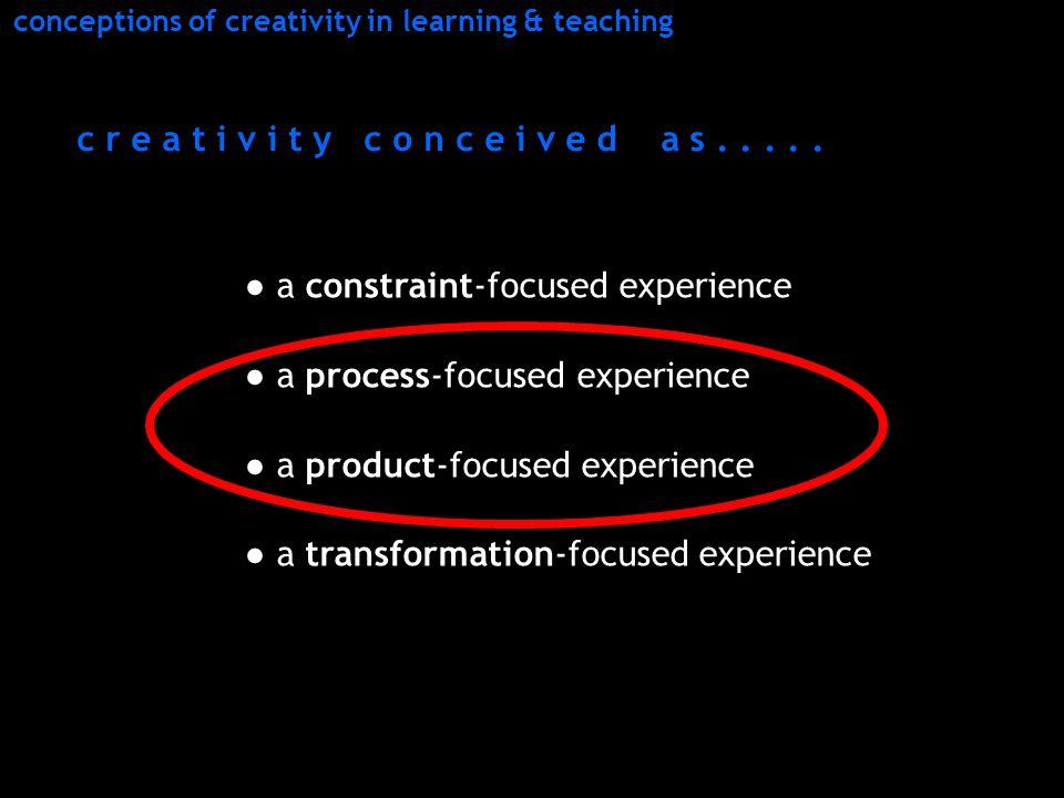 ● a constraint-focused experience ● a process-focused experience ● a product-focused experience ● a transformation-focused experience c r e a t i v i t y c o n c e i v e d a s.....