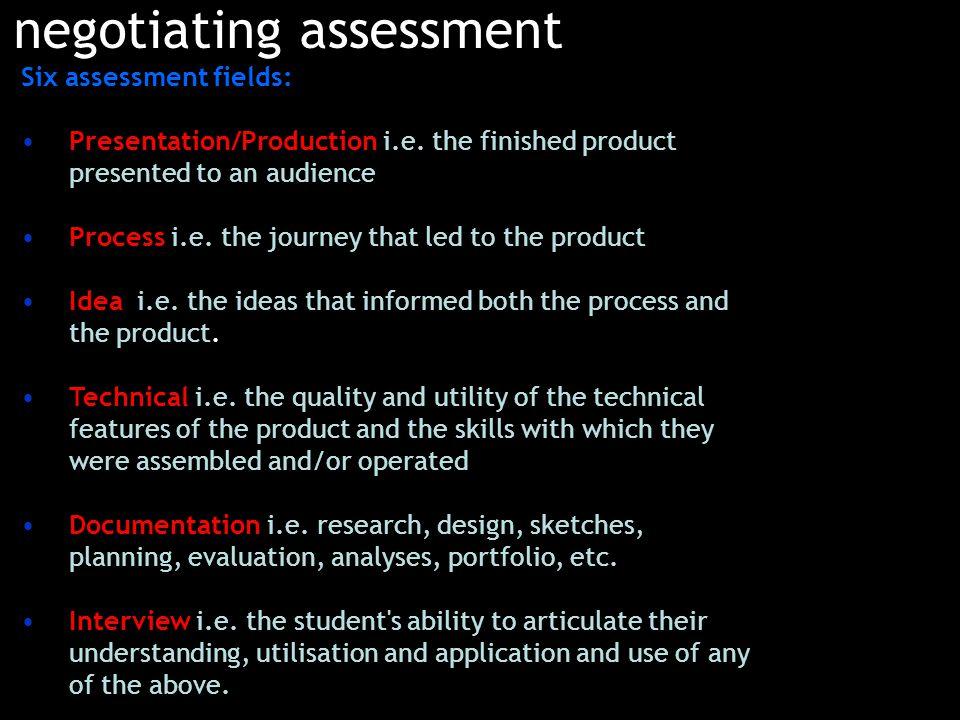Six assessment fields: Presentation/Production i.e.