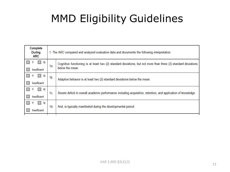 MMD Eligibility Guidelines KAR 1:300 §3(2)(3) 11