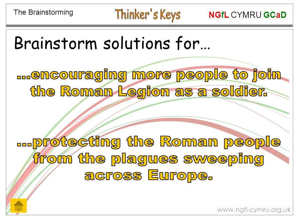 NGfL CYMRU GCaD www.ngfl-cymru.org.uk Brainstorm solutions for… The Brainstorming