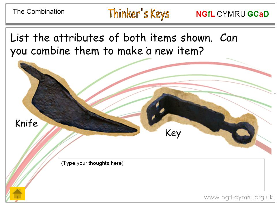 NGfL CYMRU GCaD www.ngfl-cymru.org.uk List the attributes of both items shown. Can you combine them to make a new item? The Combination Knife Key