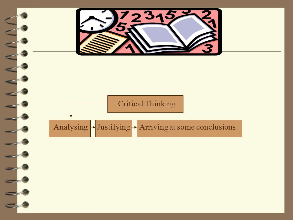 Critical Thinking Analysing Justifying Arriving at some conclusions