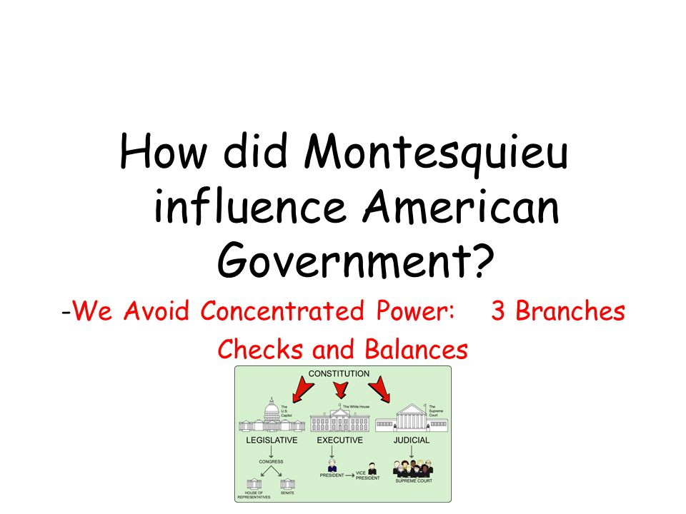 How did Montesquieu influence American Government.