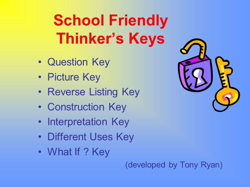 School Friendly Thinker's Keys Question Key Picture Key Reverse Listing Key Construction Key Interpretation Key Different Uses Key What If ? Key (deve