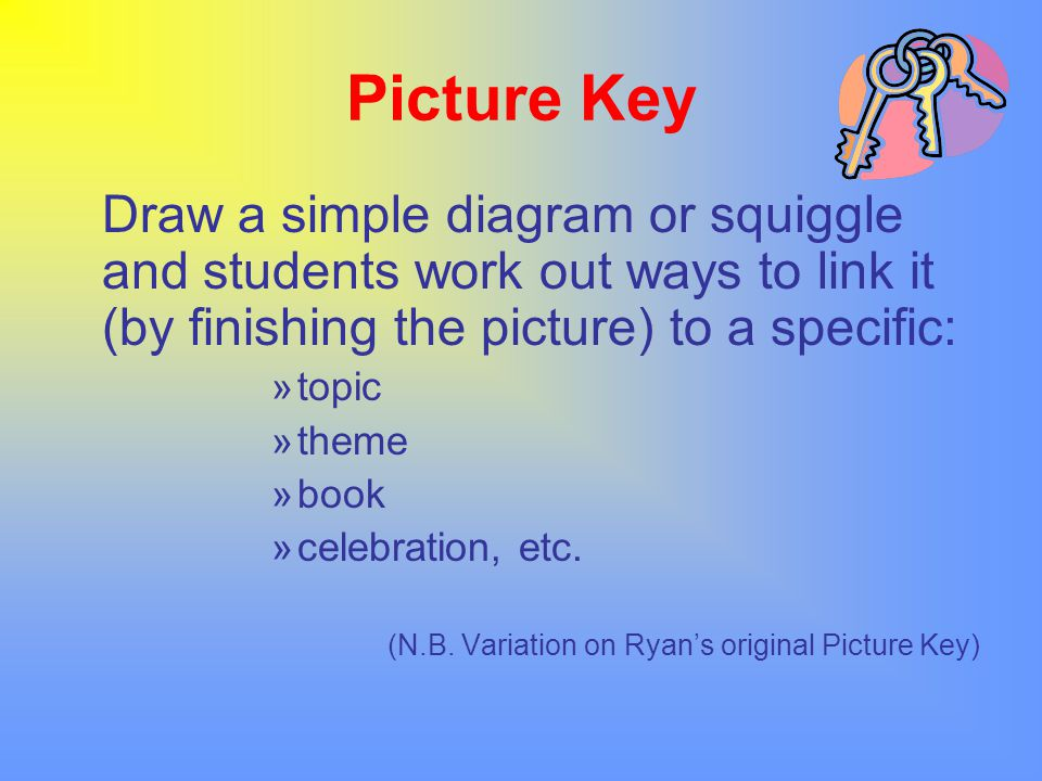 Picture Key Draw a simple diagram or squiggle and students work out ways to link it (by finishing the picture) to a specific: »topic »theme »book »cel