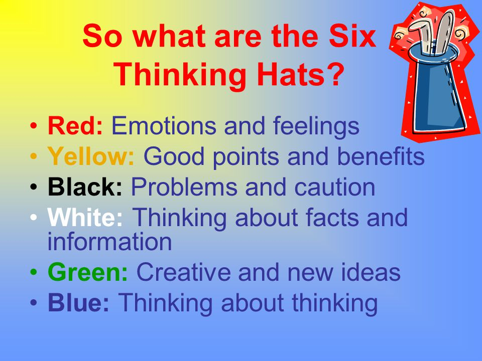 So what are the Six Thinking Hats? Red: Emotions and feelings Yellow: Good points and benefits Black: Problems and caution White: Thinking about facts