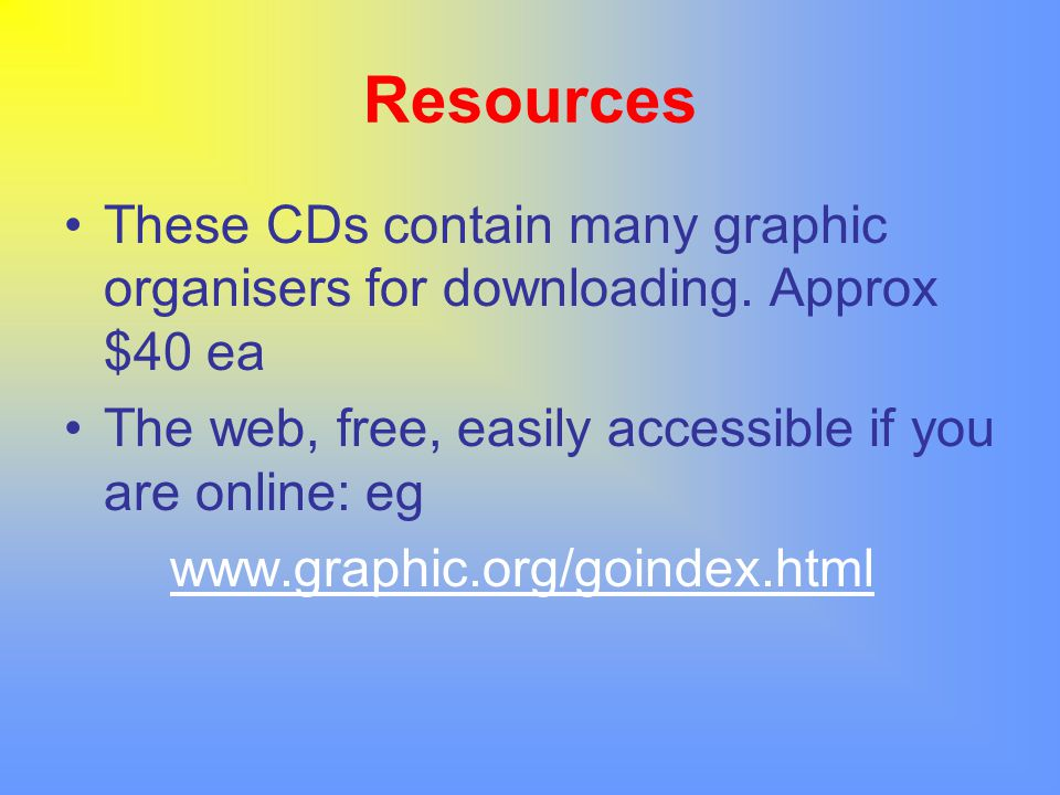 Resources These CDs contain many graphic organisers for downloading. Approx $40 ea The web, free, easily accessible if you are online: eg www.graphic.