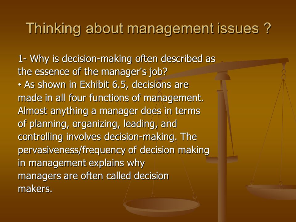 Thinking about management issues .