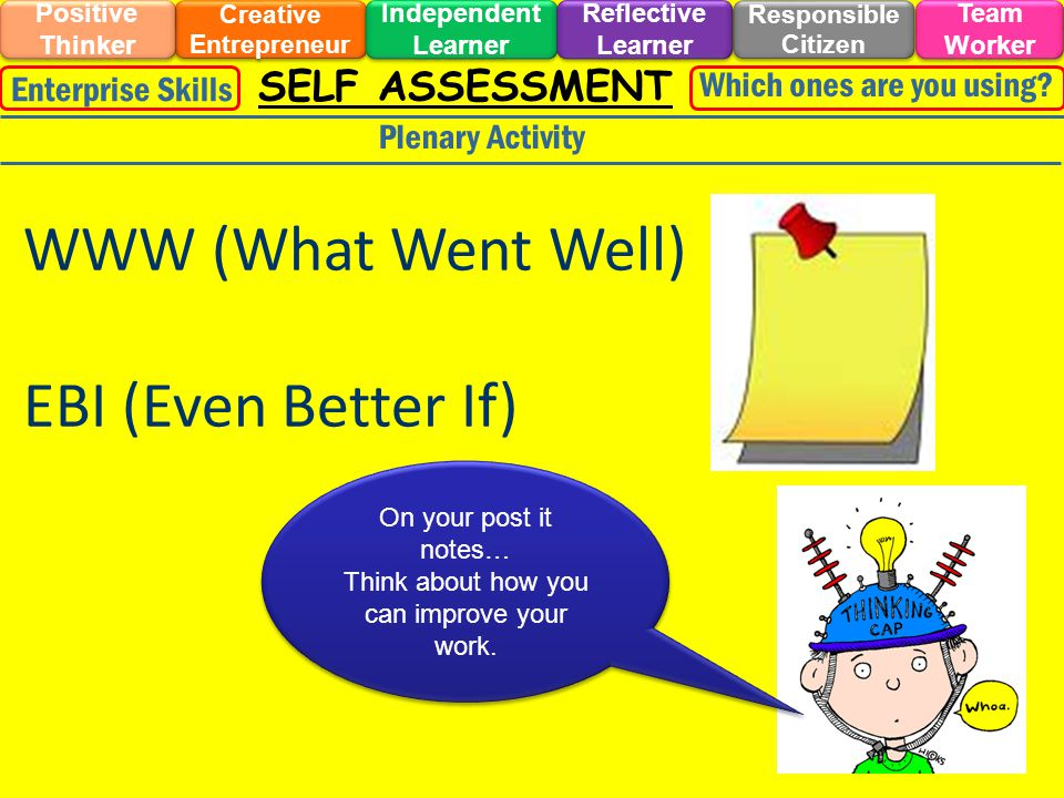 SELF ASSESSMENT Plenary Activity On your post it notes… Think about how you can improve your work. On your post it notes… Think about how you can impr