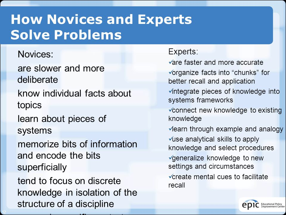 How Novices and Experts Solve Problems Novices: are slower and more deliberate know individual facts about topics learn about pieces of systems memori