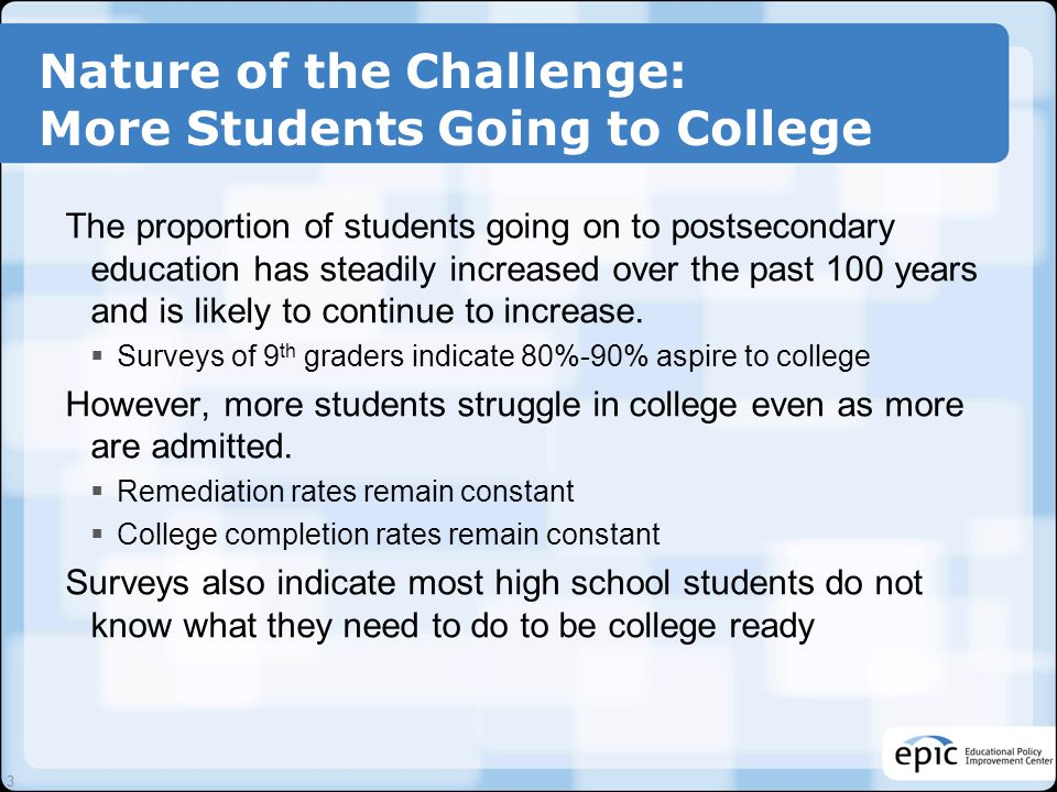 Nature of the Challenge: More Students Going to College The proportion of students going on to postsecondary education has steadily increased over the