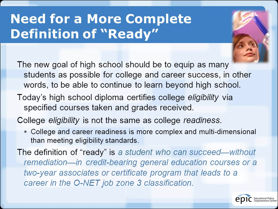 The Four Dimensions of College Readiness Key Cognitive Strategies Problem formulation, research, interpretation, communication, precision and accuracy.