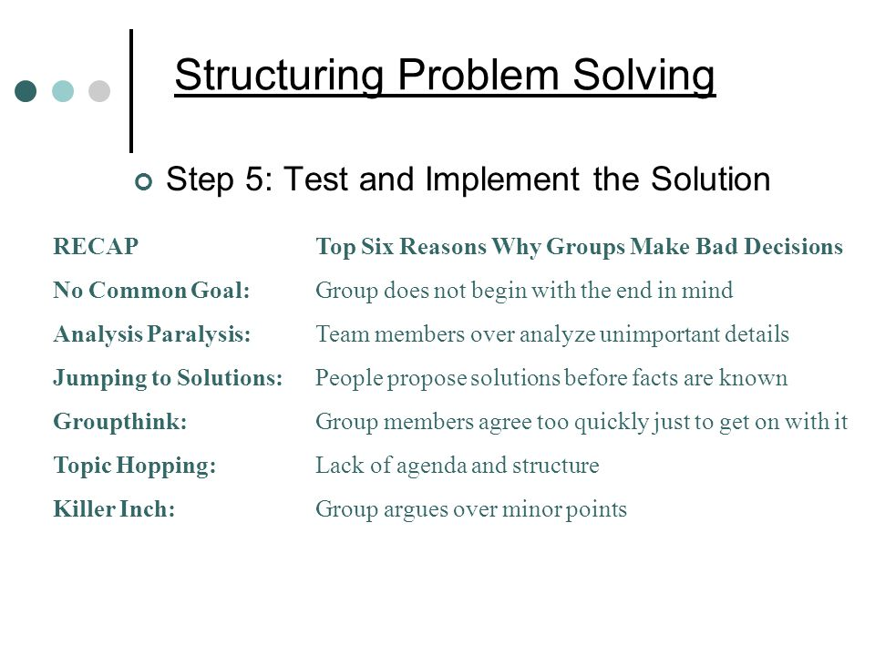 Structuring Problem Solving Step 5: Test and Implement the Solution RECAPTop Six Reasons Why Groups Make Bad Decisions No Common Goal:Group does not begin with the end in mind Analysis Paralysis:Team members over analyze unimportant details Jumping to Solutions:People propose solutions before facts are known Groupthink:Group members agree too quickly just to get on with it Topic Hopping:Lack of agenda and structure Killer Inch:Group argues over minor points