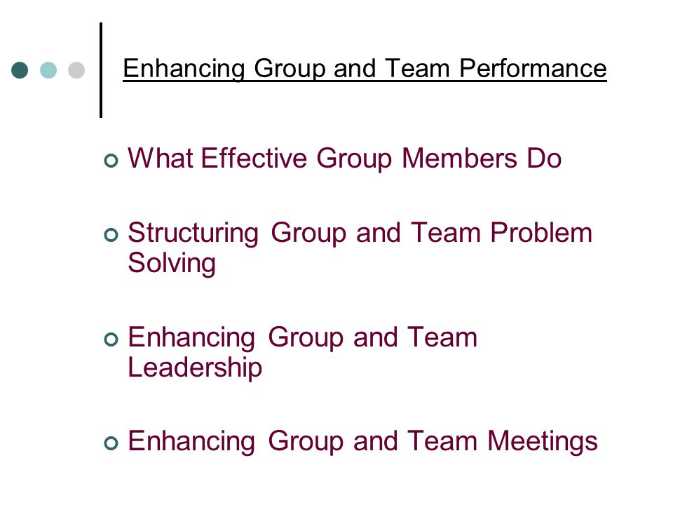 Enhancing Group and Team Performance What Effective Group Members Do Structuring Group and Team Problem Solving Enhancing Group and Team Leadership Enhancing Group and Team Meetings