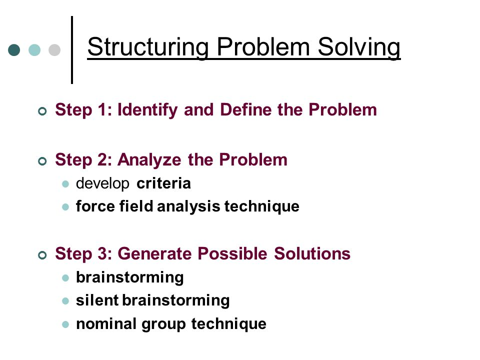 Structuring Problem Solving Step 1: Identify and Define the Problem Step 2: Analyze the Problem develop criteria force field analysis technique Step 3: Generate Possible Solutions brainstorming silent brainstorming nominal group technique
