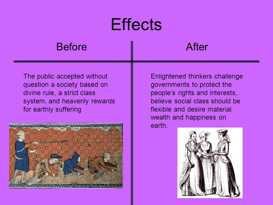 Effects BeforeAfter The public accepted without question a society based on divine rule, a strict class system, and heavenly rewards for earthly suffe