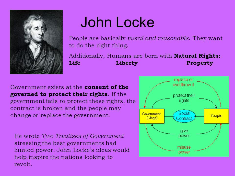 John Locke People are basically moral and reasonable. They want to do the right thing. Additionally, Humans are born with Natural Rights: Life Liberty