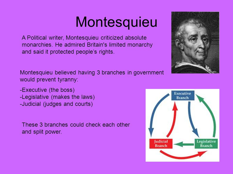 Montesquieu A Political writer, Montesquieu criticized absolute monarchies. He admired Britain's limited monarchy and said it protected people's right