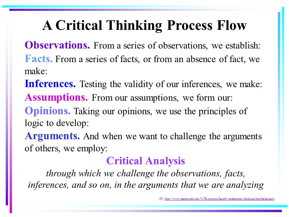 A Critical Thinking Process Flow Observations. From a series of observations, we establish: Facts.