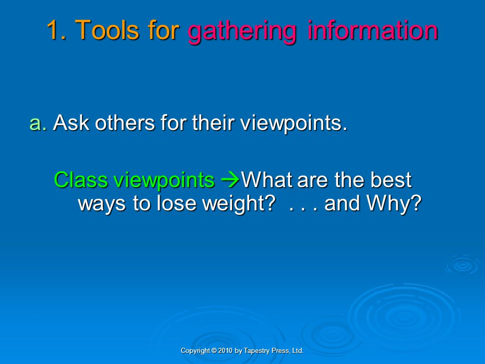 Copyright © 2010 by Tapestry Press, Ltd. 1. Tools for gathering information a.