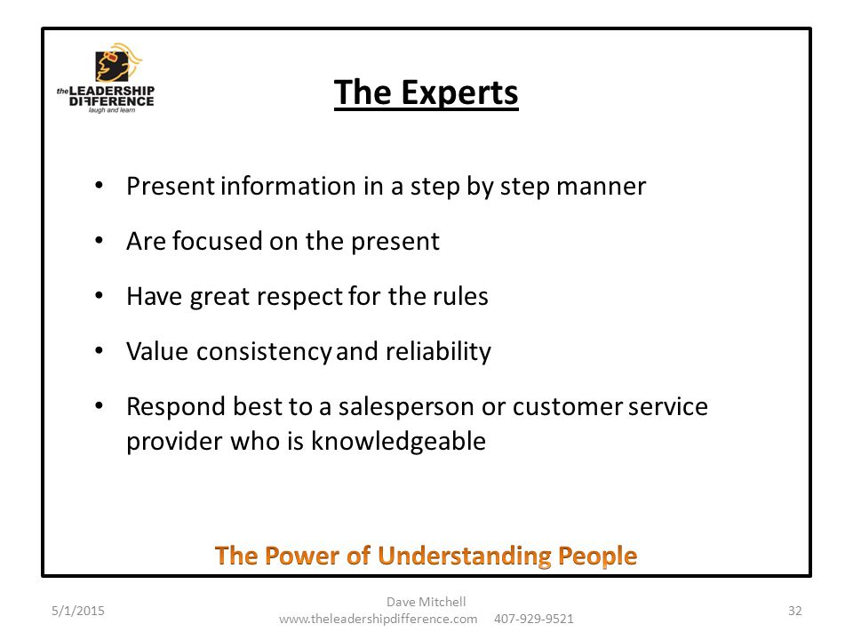 The Experts Present information in a step by step manner Are focused on the present Have great respect for the rules Value consistency and reliability Respond best to a salesperson or customer service provider who is knowledgeable 5/1/2015 Dave Mitchell www.theleadershipdifference.com 407-929-9521 32