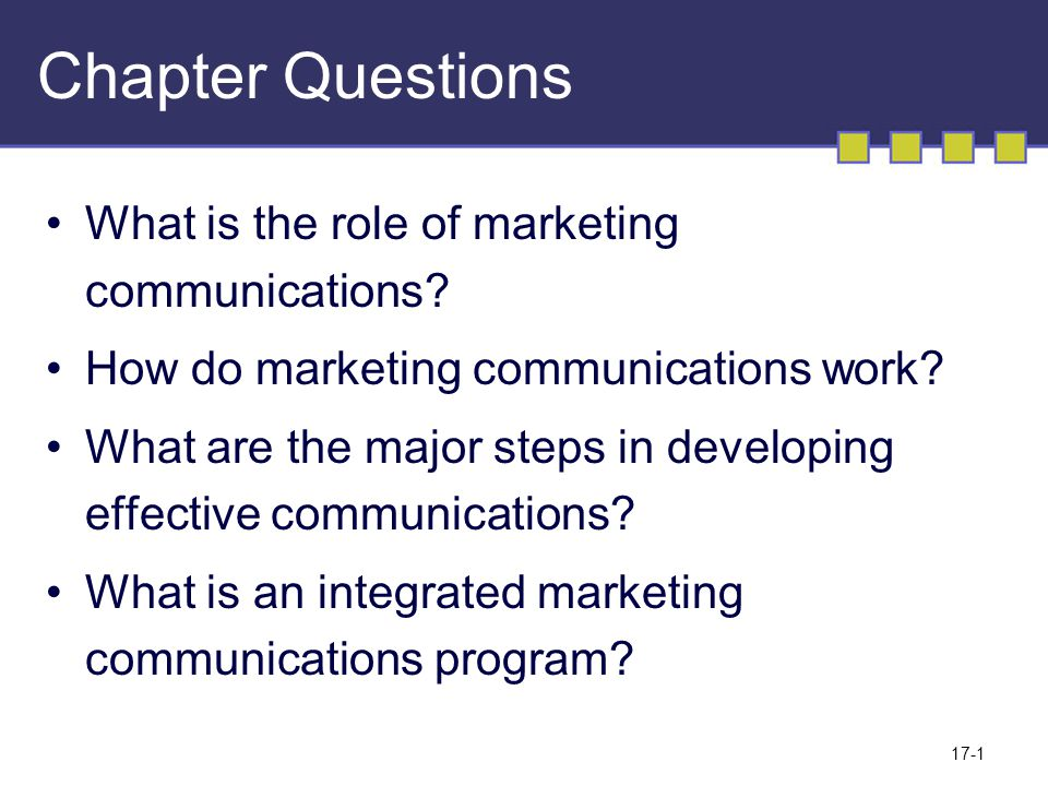 17-1 Chapter Questions What is the role of marketing communications.
