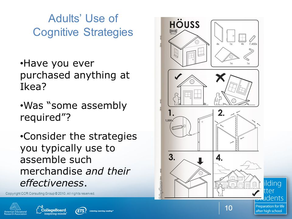 """Copyright CCR Consulting Group © 2010. All rights reserved. 10 Adults' Use of Cognitive Strategies Have you ever purchased anything at Ikea? Was """"some"""