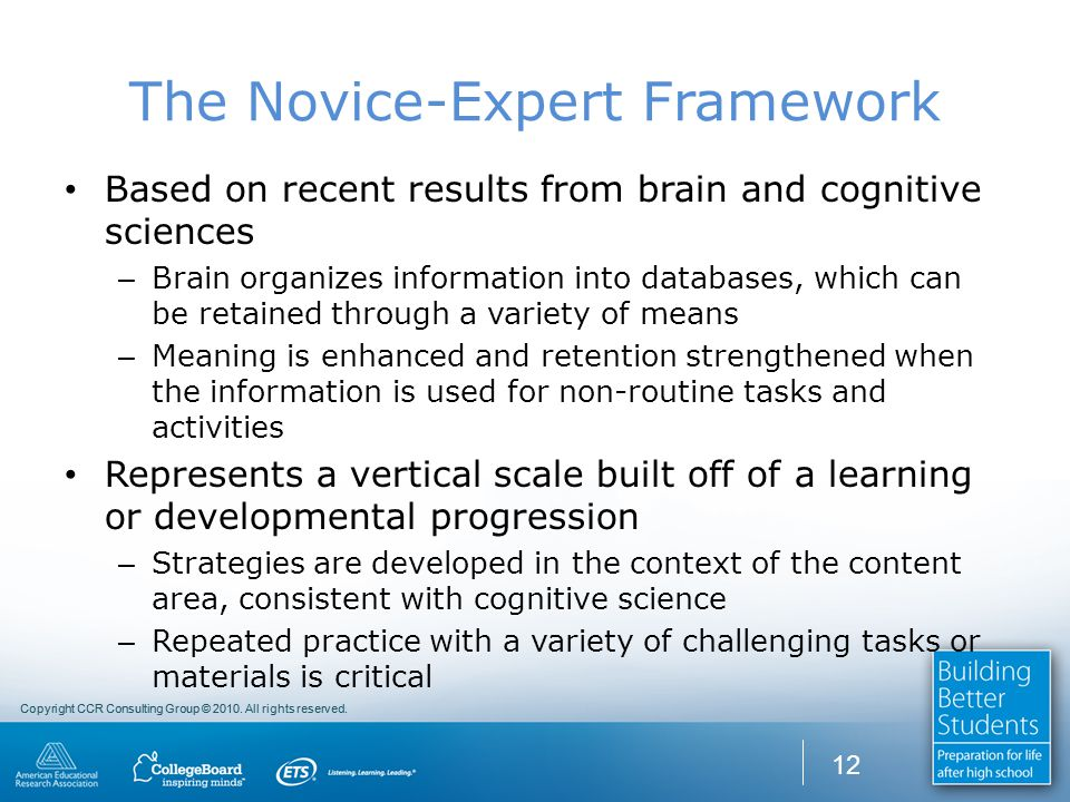 Copyright CCR Consulting Group © 2010. All rights reserved. The Novice-Expert Framework Based on recent results from brain and cognitive sciences – Br