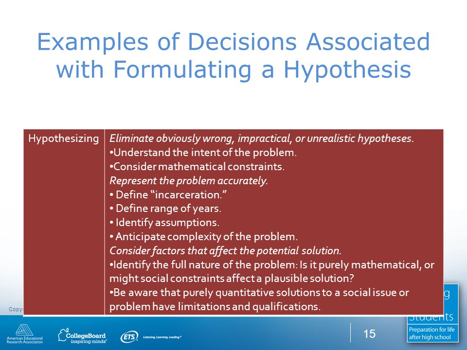 Copyright CCR Consulting Group © 2010. All rights reserved. Examples of Decisions Associated with Formulating a Hypothesis HypothesizingEliminate obvi