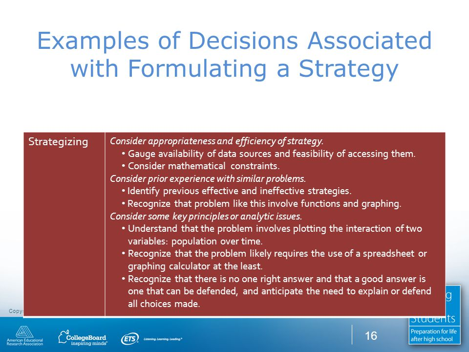 Copyright CCR Consulting Group © 2010. All rights reserved. Examples of Decisions Associated with Formulating a Strategy Strategizing Consider appropr