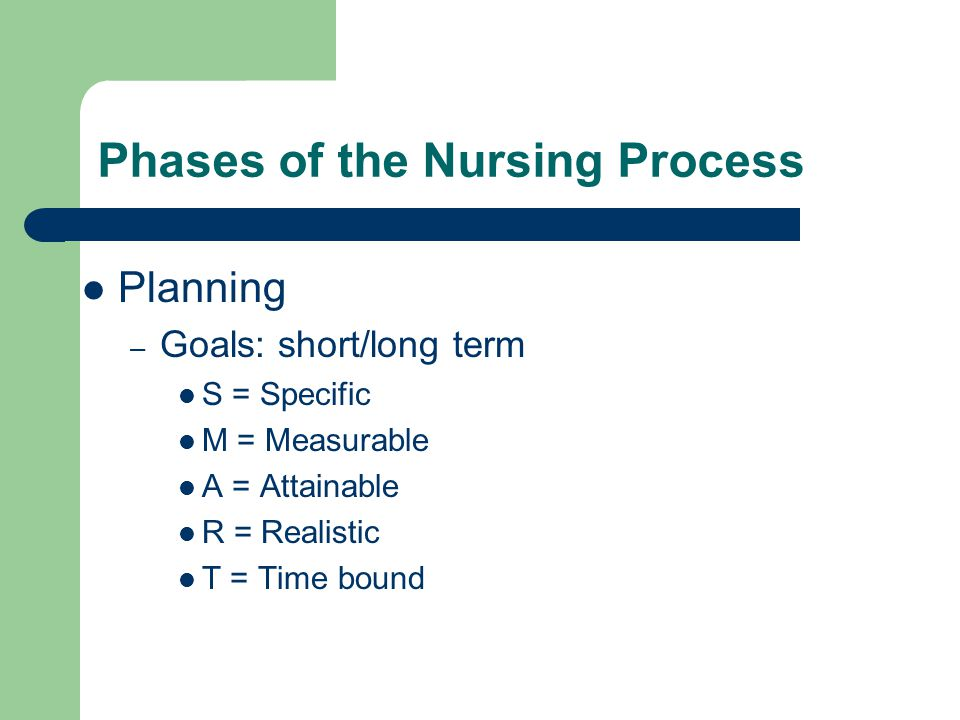 Phases of the Nursing Process Planning – Goals: short/long term S = Specific M = Measurable A = Attainable R = Realistic T = Time bound