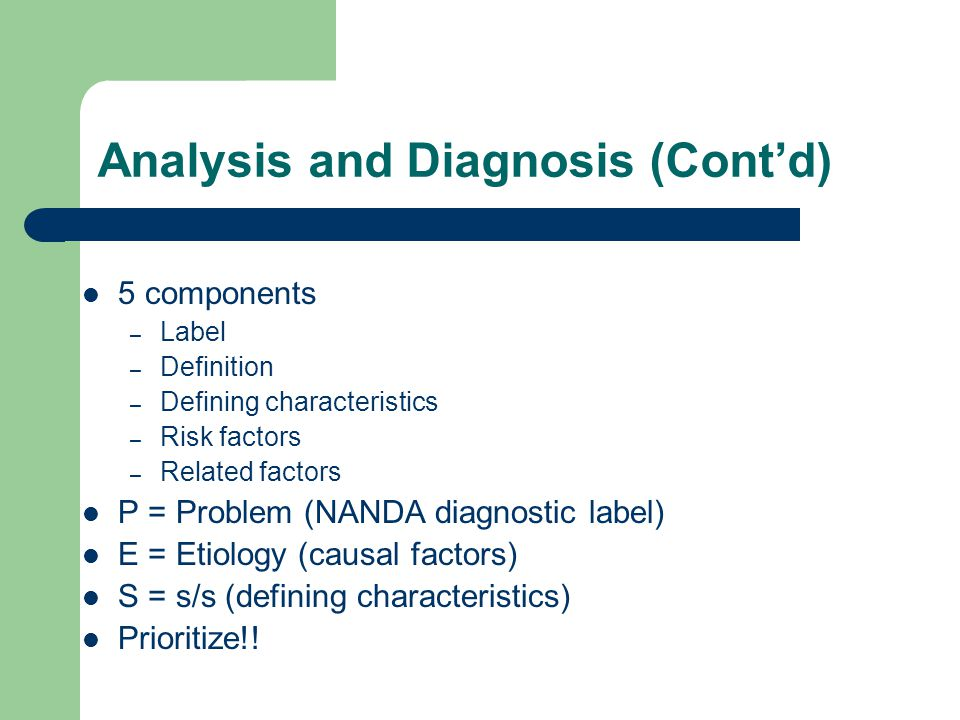 Analysis and Diagnosis (Cont'd) 5 components – Label – Definition – Defining characteristics – Risk factors – Related factors P = Problem (NANDA diagn