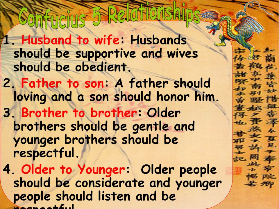 1. Husband to wife: Husbands should be supportive and wives should be obedient. 2. Father to son: A father should loving and a son should honor him. 3