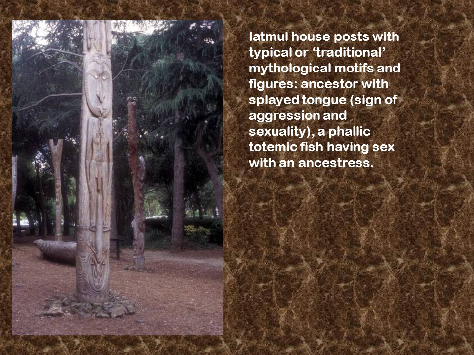 Iatmul house posts with typical or 'traditional' mythological motifs and figures: ancestor with splayed tongue (sign of aggression and sexuality), a phallic totemic fish having sex with an ancestress.