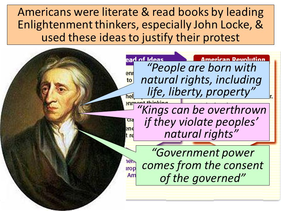 "Americans were literate & read books by leading Enlightenment thinkers, especially John Locke, & used these ideas to justify their protest ""People are"