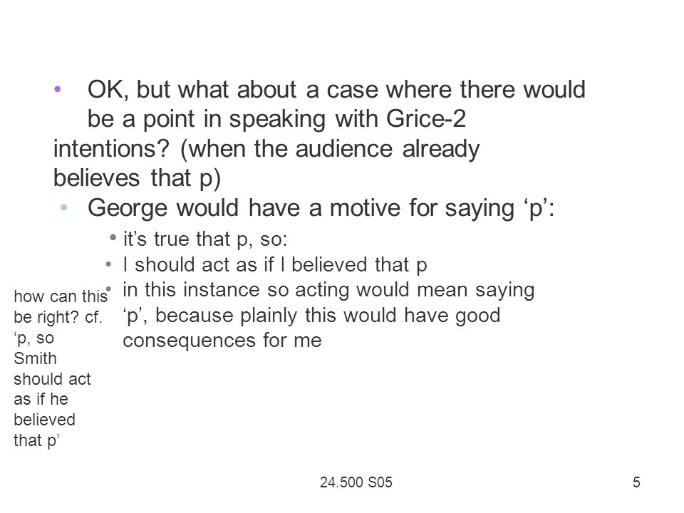 24.500 S05 5 OK, but what about a case where there would be a point in speaking with Grice-2 intentions.