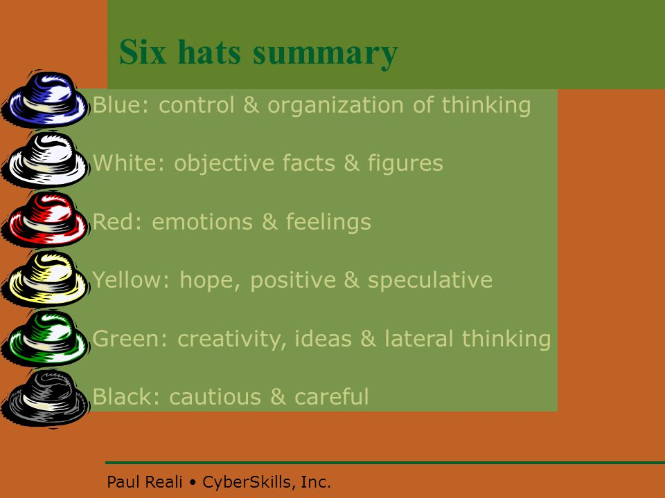 Paul Reali CyberSkills, Inc. Six hats summary Blue: control & organization of thinking White: objective facts & figures Red: emotions & feelings Yello