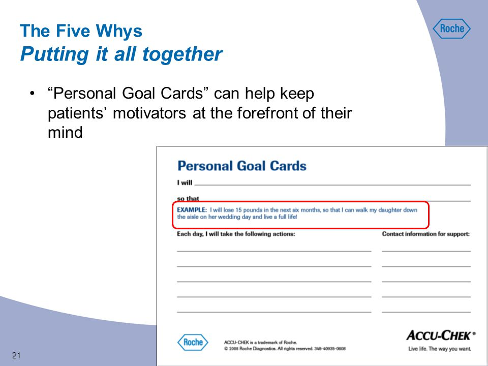 21 Personal Goal Cards can help keep patients' motivators at the forefront of their mind The Five Whys Putting it all together