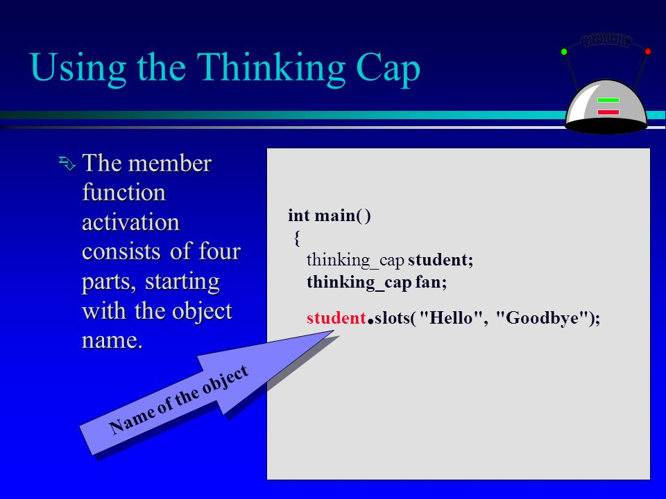 Using the Thinking Cap  The member function activation consists of four parts, starting with the object name. int main( ) { thinking_cap student; thi