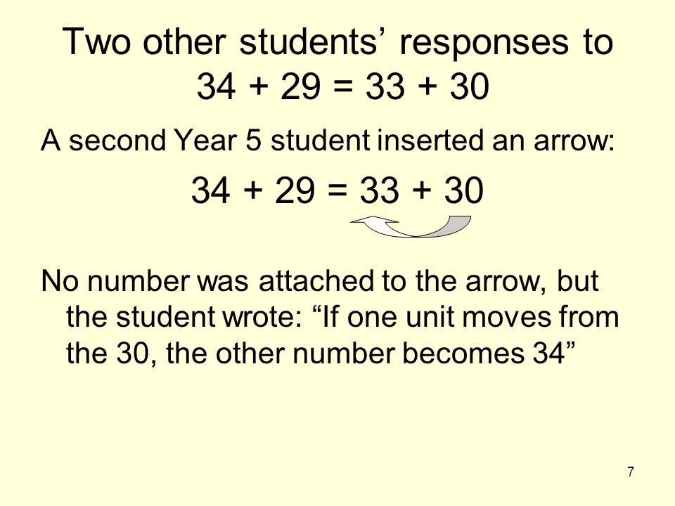 38 Conclusions When children show that the numbers in sentences like 73 + 49 = 72 + 50 can vary without affecting the truth of the expression, they are engaging in generalised numerical thinking which may be called quasi-variable thinking (Fujii & Stephens, 2001) These children may not have learned that 73 + 49 is always equivalent to (73 – a) + (49 + a).