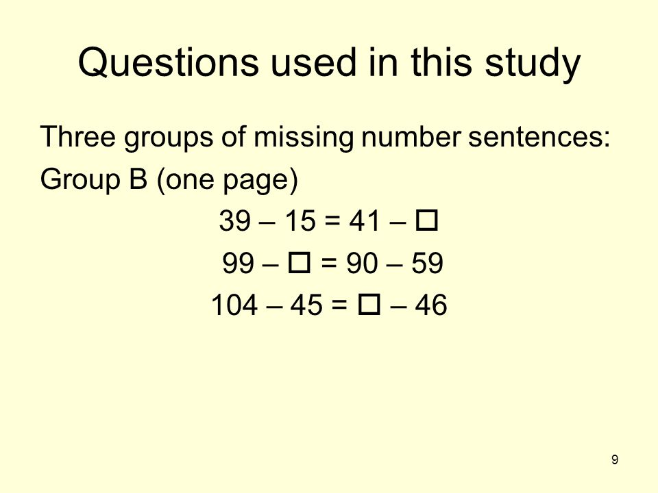 20 For students who used a relational approach Group A was thought to be easiest Group B was expected to be more difficult, with some students trying to use a relational approach in Group B, but mistaking the direction of variation Group C questions were expected to be less prone to errors, using a relational approach, than approaches based on computation