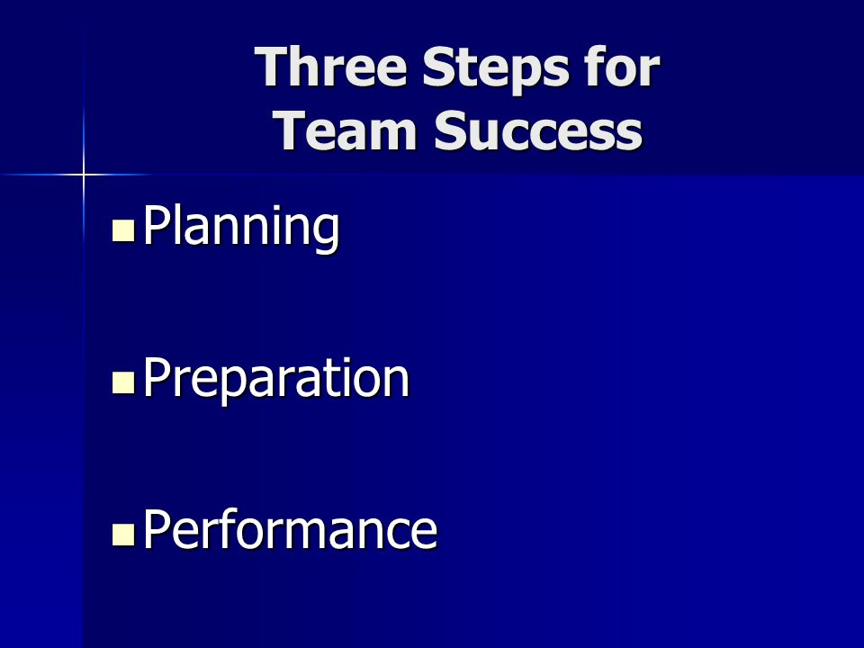 Three Steps for Team Success Planning Planning Preparation Preparation Performance Performance